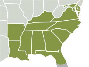 South Eastern and Central United States